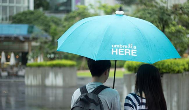 Le Umbrella Here, l'anneau à insérer au dessus de son parapluie